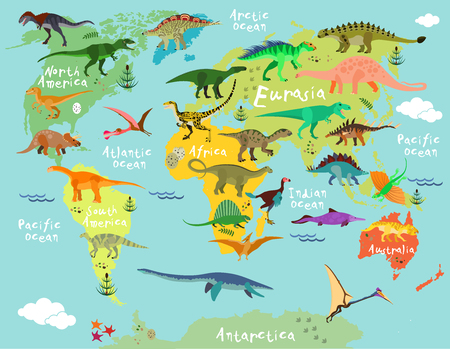 Illustration pour Dinosaurs map of the world for children and kids - image libre de droit