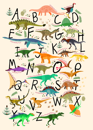 Illustration pour Learning Alphabets With Dinosaurs. ABC Dinosaurs. Vector Illustration - image libre de droit