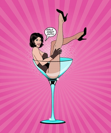 Photo for Pin Up Girl In Martini Glass. Vector Illustration. - Royalty Free Image