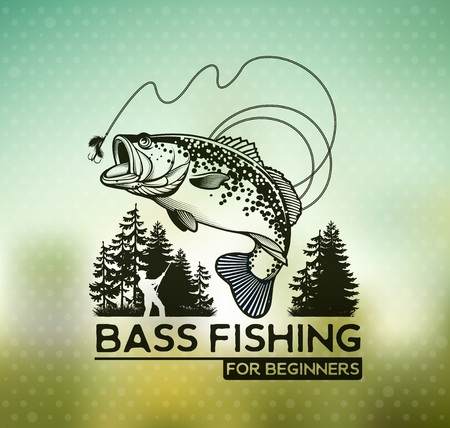 Ilustración de Bass Fishing emblem on blur background. Vector illustration. - Imagen libre de derechos