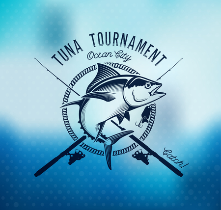 Illustration pour Fishing labels, badges, emblems and design elements. Illustrations of Tuna - image libre de droit