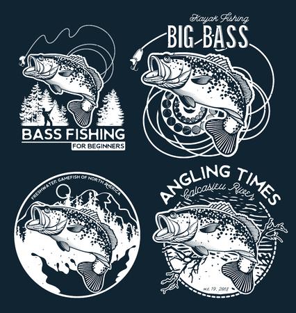 Ilustración de Bass Fishing emblem on black background. Vector illustration. - Imagen libre de derechos