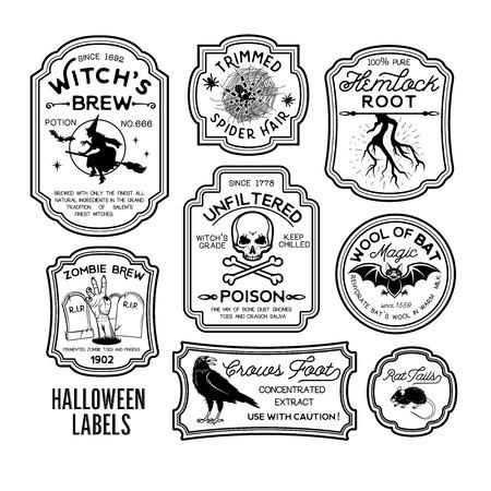 Ilustración de Set of Halloween Bottle Labels. - Imagen libre de derechos