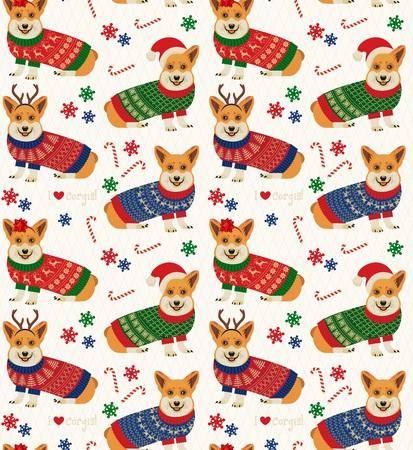 Ilustración de Seamless Christmas Pattern with Corgis. - Imagen libre de derechos