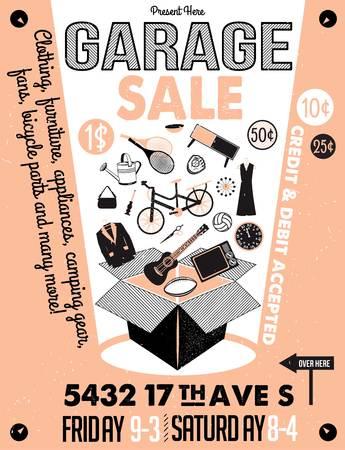 Ilustración de Garage or Yard Sale with signs, box and household items. Vintage printable poster or banner template. - Imagen libre de derechos
