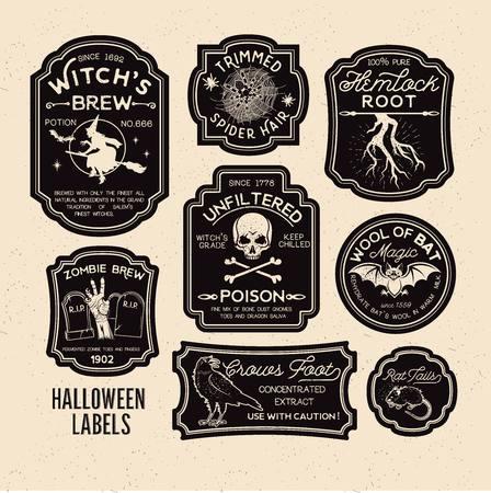 Ilustración de Halloween Bottle Labels Potion Labels. Vector Illustration. - Imagen libre de derechos