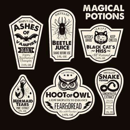 Illustration pour Halloween Bottle Labels Potion Labels. Vector Illustration. - image libre de droit
