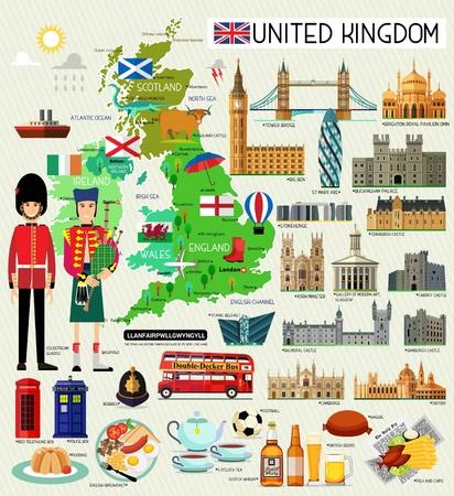 Ilustración de Map of United Kingdom and Travel Icons.United Kingdom Travel Map. Seamless Travel pattern of United Kingdom.Vector Illustration. - Imagen libre de derechos