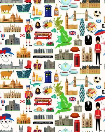 Illustration pour Map of United Kingdom and Travel Icons.United Kingdom Travel Map. Seamless Travel pattern of United Kingdom.Vector Illustration. - image libre de droit