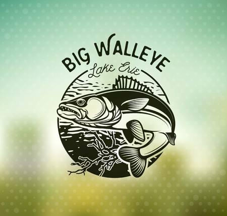 Ilustración de Vintage Walleye Fishing Emblems and Labels. Vector Illustration - Imagen libre de derechos