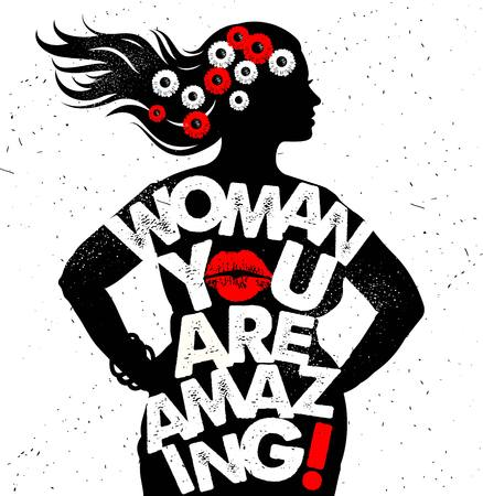 Ilustración de Hand drawn typography poster. Woman You Are Amazing - Imagen libre de derechos