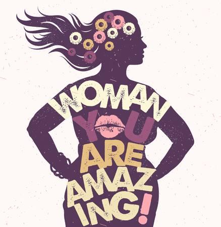 Ilustración de Hand drawn typography poster. Woman You Are Amazing - Imagen libre de derechos