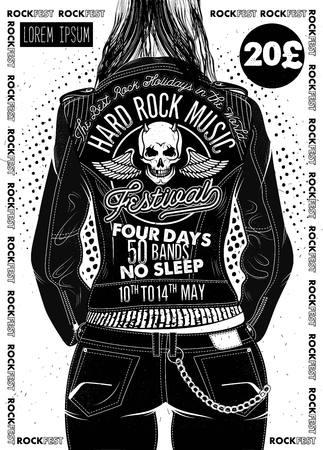 Illustration pour Hard Rock Festival Poster. - image libre de droit