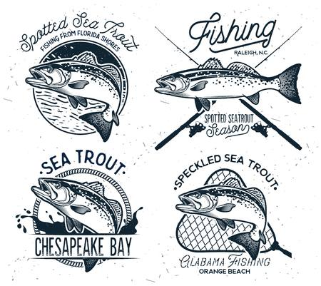Illustration for Vintage Sea Trout Fishing Emblems, Labels and Design Elements. - Royalty Free Image