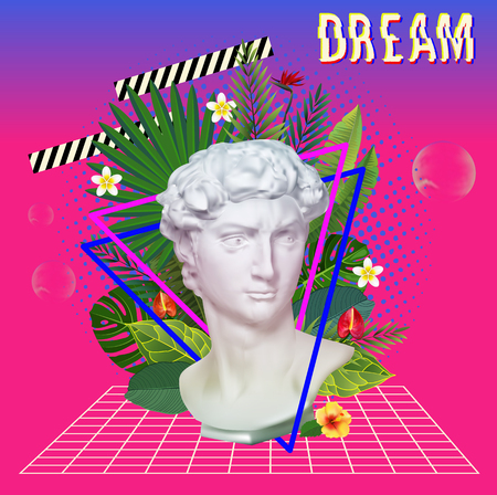 Ilustración de Vaporwave statue with flowers and leaves. 3D Background Illustration Inspired by 80 s Scene, synthwave and retrowave music. Vector Illustration. - Imagen libre de derechos
