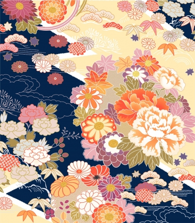 Photo pour Montage of traditional Kimono motifs - image libre de droit