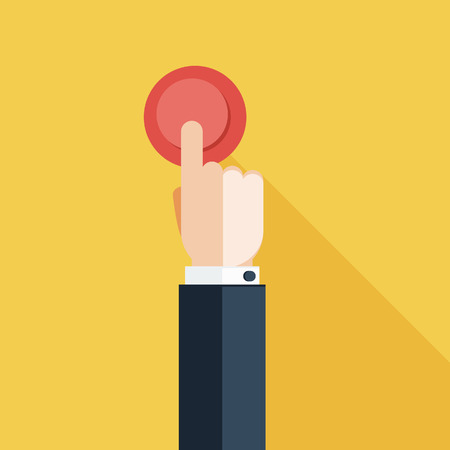 Illustration pour Hand Press Red Button on Yellow Background - image libre de droit