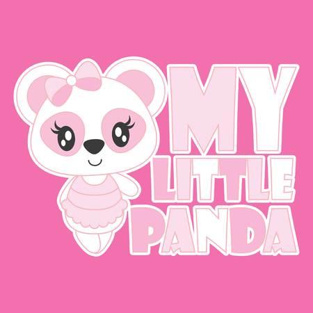 Ilustración de Cute baby panda is my little panda vector cartoon illustration for baby shower card design, kid t shirt design, and wallpaper - Imagen libre de derechos