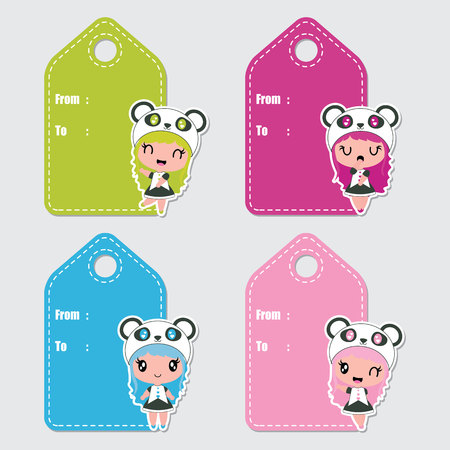 Illustration pour Cute colorful panda girls vector cartoon illustration for Birthday gift tags design, postcard and sticker set - image libre de droit