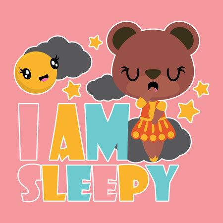 Illustration pour Cute bear girl is sleepy. Vector cartoon illustration - image libre de droit