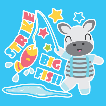 Illustration pour Cute zebra boy is fishing vector cartoon illustration for Kid t-shirt background design, postcard, and wallpaper - image libre de droit