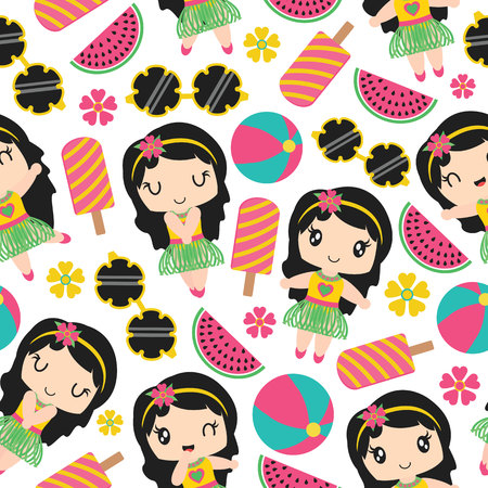 Illustration pour Seamless pattern of aloha girl and summer elements vector cartoon illustration for kid wrapping paper, kid fabric clothes, and wallpaper - image libre de droit
