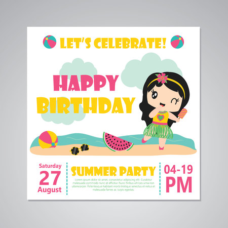 Illustration pour Cute aloha girl on the beach vector cartoon illustration for happy birthday card design, postcard, and wallpaper - image libre de droit
