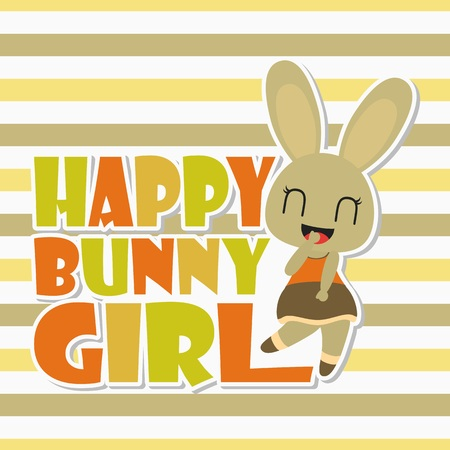 Illustration pour Happy bunny girl vector cartoon illustration for kid t-shirt background design, postcard, and wallpaper - image libre de droit