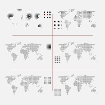 Illustration for Set of dotted world maps in different resolution - Royalty Free Image