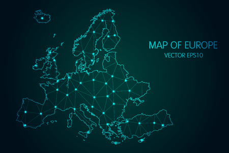 Illustration pour Map of Europe - With glowing point and lines scales on The dark gradient background - image libre de droit