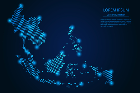 Illustration pour Abstract image Southeast Asia map from point blue and glowing stars on a dark background. vector illustration Vector eps 10. - image libre de droit