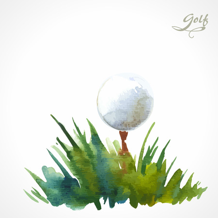 Illustration pour Watercolor illustration on the theme of golf. Ball in the grass - image libre de droit