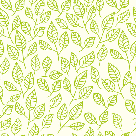Illustration pour Seamless watercolor background of green leaves. Pattern composed of tea leaves. Vector pattern. - image libre de droit