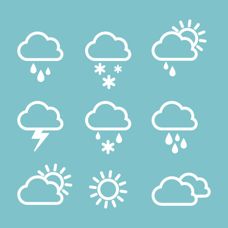 Illustration pour Set of weather icons on grey background. The weather outside rain or shine. Linear icons. - image libre de droit