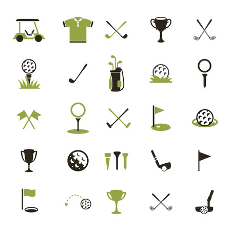 Ilustración de Golf  Set golf icons. Icon of a golf ball and other attributes of the game. - Imagen libre de derechos
