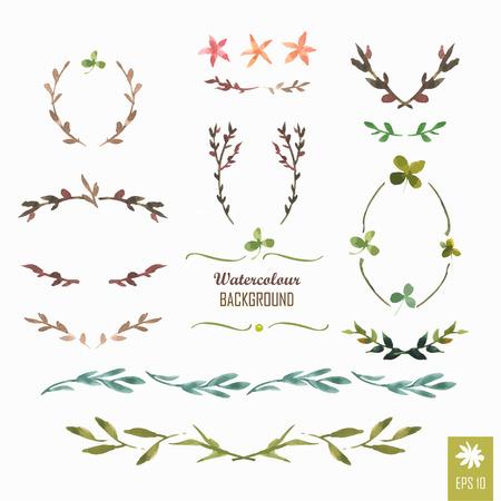 Illustration pour Floral motifs. Watercolor vintage floral trendy set of wreaths and laurels. Frame set - image libre de droit