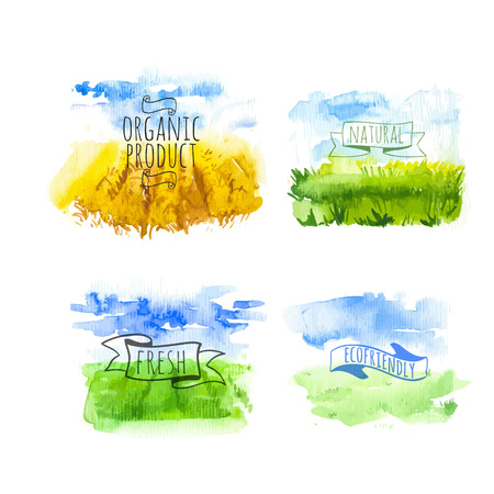 Illustration pour Set of simple watercolor landscape with fields and farms. Vector illustration of nature in a Provencal style. Organic farms. - image libre de droit