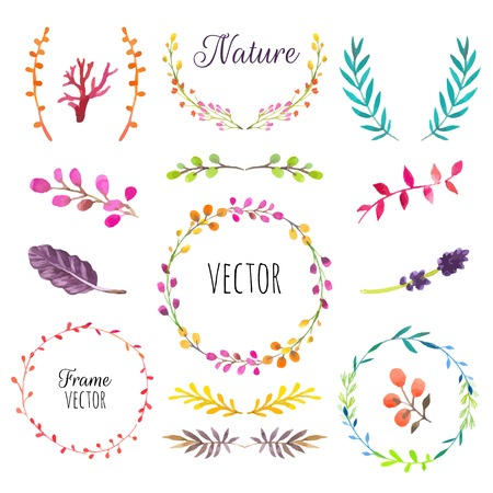 Illustration pour Floral motifs. Watercolor vintage floral trendy set of wreaths and laurels. Set of round frames. - image libre de droit