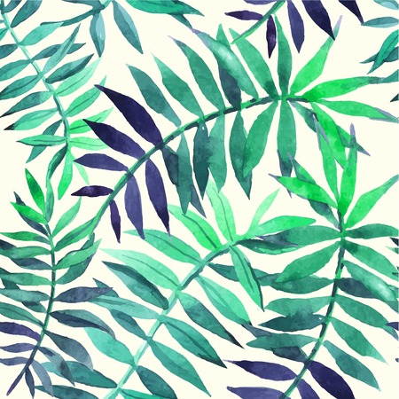 Illustration for Seamless floral background. Watercolor green pattern with palm leaves. Handmade painting on a white background. - Royalty Free Image