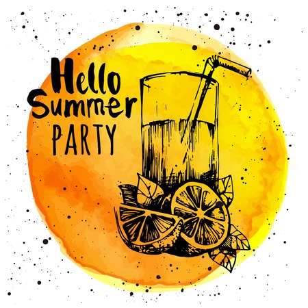 Illustration pour Yellow background with sketch of lemonade. Watercolor circle with the word hello summer party. - image libre de droit