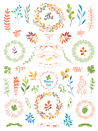 Illustration pour Vector illustration on white background with floral frame. Hand draw design elements for your decorations. - image libre de droit