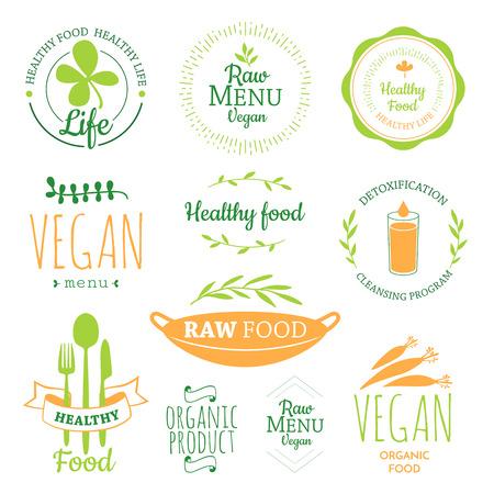 Ilustración de Raw food diet. Healthy lifestyle and proper nutrition. Vector label. Detox logo. - Imagen libre de derechos