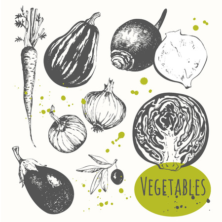 Foto per Fresh organic food. Vector illustration with sketch vegetable. Black and white sketch of food. - Immagine Royalty Free