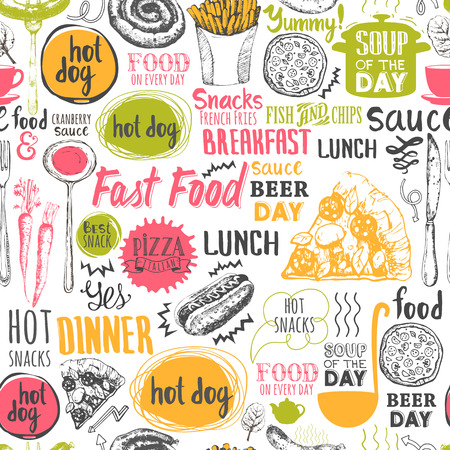 Illustration pour Menu pattern. Vector Illustration with funny food lettering and labels on white background. Decorative elements for your packing design. Multicolor decor. - image libre de droit