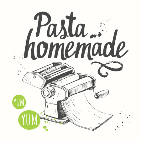 Illustration for Italian homemade traditional pasta machine on white background. - Royalty Free Image