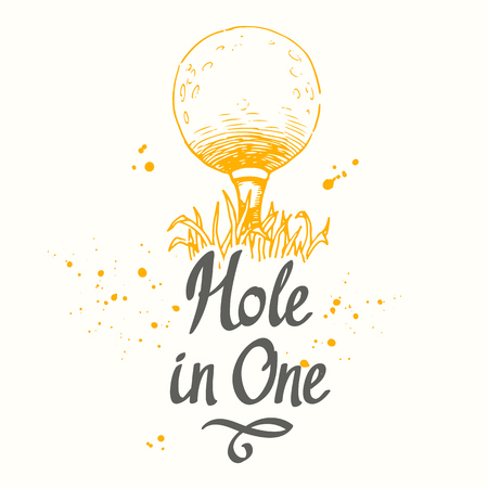 Ilustración de Golf. Vector set of hand-drawn sports equipment. Illustration in sketch style on white background. Brush calligraphy elements for your design. Handwritten ink lettering. Hole in one. - Imagen libre de derechos