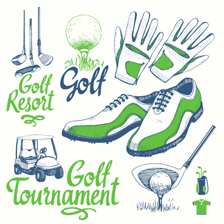 Illustration for Golf set with basket, shoes, car, putter, ball, gloves, bag. Vector set of hand-drawn sports equipment. Illustration in sketch style on white background. Handwritten ink lettering. - Royalty Free Image