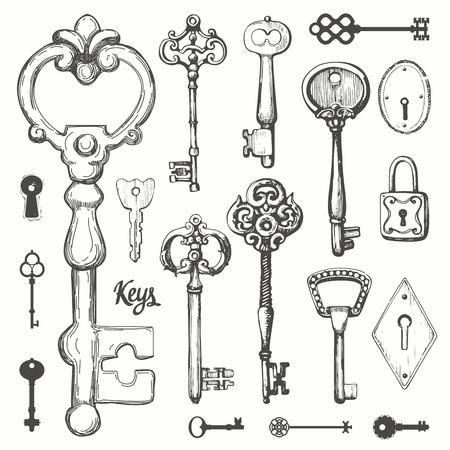 Illustration for Vector set of hand-drawn antique keys. Illustration in sketch style on white background. Old design - Royalty Free Image
