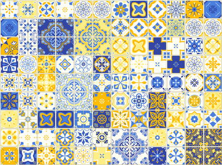 Illustration pour Seamless pattern with Portuguese tiles. Vector illustration of Azulejo on white background. - image libre de droit