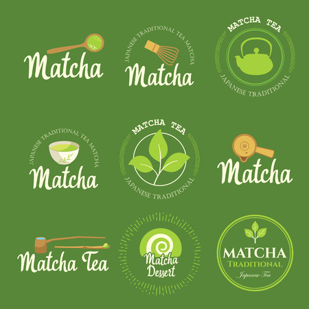 Ilustración de Japanese ethnic and national tea ceremony. Matcha icon set. Traditions of teatime. Decorative elements for your design. Vector illustration with party symbols on green background. - Imagen libre de derechos